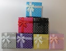 32 polka dot bow square Earring/Ring Jewellery boxes, display box,7 colours