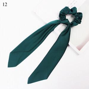 Women Satin Long Streamer Hair Tie Girl Floral Fashion Hair Ring Band Hairwear