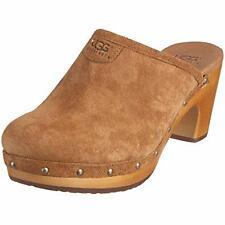 UGG Australia Abbie Mules Clogs 7 Suede Leather Wooden Platform Slip On 5772 Brn