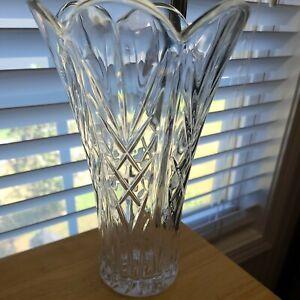 "Palace by Royal Crystal Rock 10"" Flower Vase Criss Crosses & Fan Design"