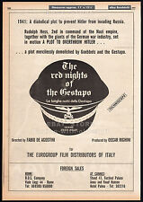 THE RED NIGHTS OF THE GESTAPO__Original 1977 Trade AD/ poster__Nazi Exploitation