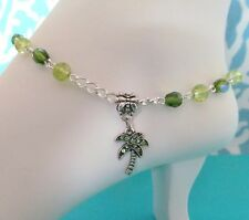 Palm Tree Anklet Green Rhinestone, Beach Anklet, Seashell Anklet,Tropical Anklet
