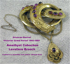 Antique Lavaliere Brooch Pin Amethyst 15ct Gold Victorian Grand Period 1860/85