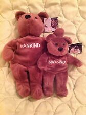 WWE WWF ATTITUDE BEARS MANKIND MICK FOLEY SET OF 2 VINTAGE 1999 BEANIES