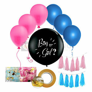 """Party Pack 36"""" Gender Reveal Balloon With Pink Or Boy Blue Confetti & More"""