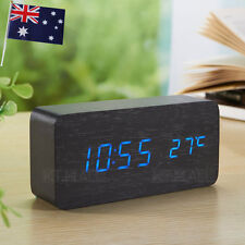BLUE LED WOODEN 3 ALARM CLOCK + TEMPERATURE DISPLAY USB/BATTERY WOOD BLACK