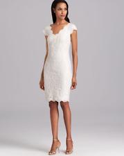 TADASHI SHOJI DOUBLE V SEQUIN SHEATH WHITE  DRESS sz 4
