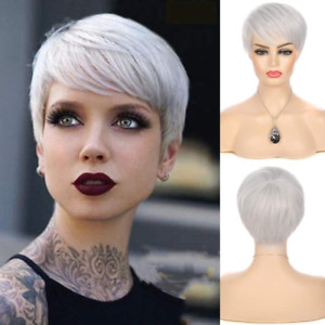 Silver Grey Wigs Short Hair Pixie Cut Straight Wig with Bangs Synthetic Cosplay