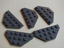 Lego 5 ailerons gris fonce set 10129 7317 4586 / 5 old dark gray wedge plate