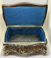 Silver Ornate Jewelry Trinket Casket Box Lined W/Teal Blue Material W/Hinged Lid