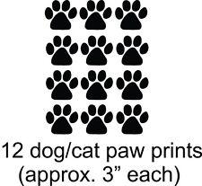"Dog - Cat 12 Paw Puppy Prints Vinyl Wall Decal [Animal 11] 3"" Paw Prints"
