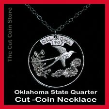 Oklahoma 25¢ OK Quarter Cut Coin Necklace The Sooner State Indian Blanket Flower