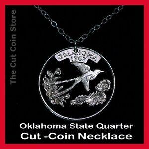 Oklahoma 25¢ OK Quarter Cut Coin Necklace The Sooner State Indian Blanket Flower
