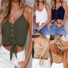 Women Casual Sleeveless Crop Tank Tops Vest Shirt Blouse Button Beach Cami Tops
