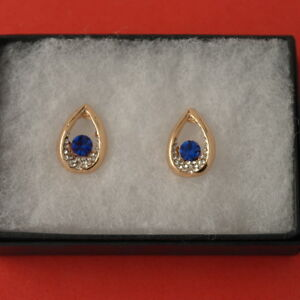 Beautiful Gold Plated Earrings With Sapphire 4 Gr. 2 x1.4 Cm. Wide In Gift Box