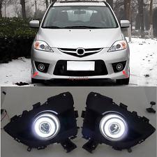 2PCS White LED Bright Light DRL Fog Lamps Assembly Set Fit For Mazda 5 2006-2010