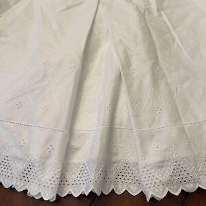 Shabby Chic White Eyelet Scallop Bedskirt Cottage Full Double White Croscill USA
