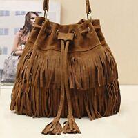 WOMEN TASSLE Suede Bag Fringe Shoulder MESSENGER HOBO HANDBAG PURSE US NEW