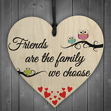 Red Ocean Friends Are The Family We Choose Wooden Hanging Heart Friendship