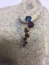 925 Sterling Silver Chandelier Earrings Vintage Geniune Mixed Colored Gemstone