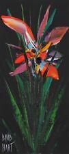 David HART (Pro Hart's Son) Wild Orchid (Black) Acrylic , signed + COA 28 x 12cm