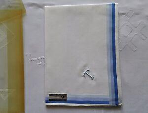 VINTAGE MACO COTTON EMBROIDERY T WHITE BLUE BORDER HANDKERCHIEF