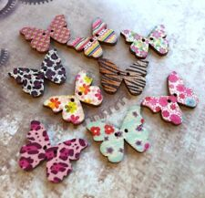 10 Wooden Buttons Butterfly for Sewing or Scrapbooking Mix 002