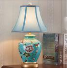 Blue 1 Light Cloth+Ceramic Height 53CM Push Button Switch Decoration Table Light