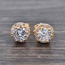 Princess Round Cz Stud Earrings Jewelry Fashion Women Gold Plated Clear Zirconia