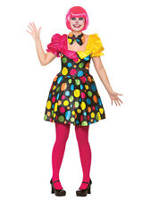 Adult Circus Clown Outfit Fancy Dress Costume Carnival Ladies Womens Female 6-24