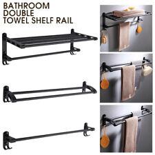 Matt Black Bathroom Towel Rack Hook Rail Double Single Shelf Wall Mounted