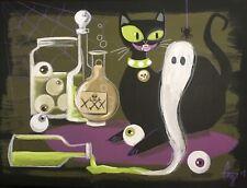 EL GATO GOMEZ RETRO MID CENTURY MODERN BLACK CAT EYEBALL HALLOWEEN CREEPY WITCH