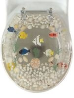 "Fish Aquarium Acrylic Round shaped Toilet Seat Clear 17"" INCH"
