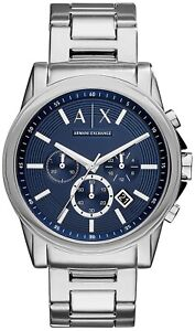 Armani Exchange Chronograph Stainless Steel Silver Blue Casual Men Watch AX2509
