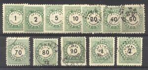 GREECE #J1-12 Mint / Used - 1875 Postage Dues ($124)