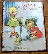 Soap Laundry Metal Tin Sign Plaque Advertising Pears Lux Sunlight Also Listed