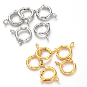 20 pcs Brass Bolt Spring Necklace End Clasps Platinum Gold Jewelry Finding 12mm