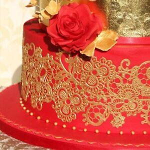 2 X STRIPS Oriel Edible Cake Lace.  **** WHITE, GOLD, SILVER****.