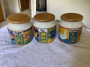 Tea Coffee Sugar Canisters Dunoon Stoneware Farmyard Set
