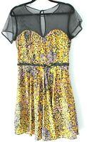 Ladakh size 10 black tulle upper yellow pastel mini sheath dress lined