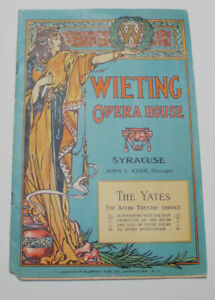 Vintage Early 1900's Wieting Opera House Syracuse NY Program Bartels Crown Beer