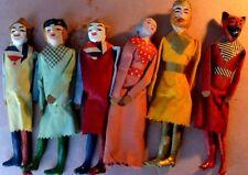 Lotto 6 vecchie MARIONETTE gesso e stoffa (1930/1950)