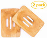 Fittolly 2 Packs Natural Wooden Bamboo Soap Dish Storage Holder Soap Holder for