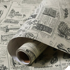 Vintage Newspaper Wallpaper Self-adhesive Wall Background Cover Sticker 60x300cm