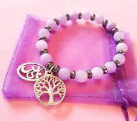 gemstone lavender purple jade /hematite bead bracelet om yoga tree of life charm
