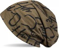 Bonnet beanie avec motif signes imprimés partout, beanie long souple