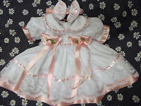 DREAM BABY GIRLS WHITE PINK SEQUINS DRESS & HBD 0-6 MONTHS OR REBORN DOLLS
