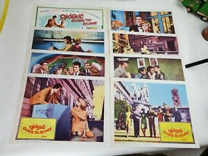"""Vintage 1963 """"Gidget Goes To Rome"""" Complete 8 Set Lobby Cards"""