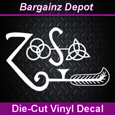 Vinyl Decal ... LED ZEPPELIN IV ... Band Symbols ZOSO Car Laptop Sticker