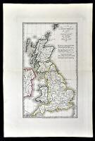 1818 D'Anville Map British Isles Roman Period Londinium Hadrians Wall England